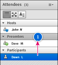 Drag an attendee's entry in the pod to change role.