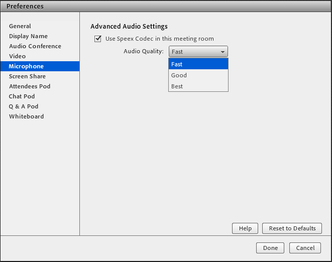 Work with audio in Connect meetings