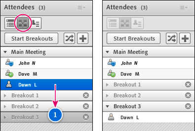 Before and after dragging attendees to different breakout rooms.