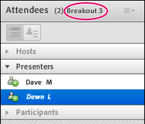 Breakout room with attendees assigned as Presenters.