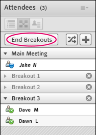 Hosts can end a Breakout session by clicking End Breakouts.