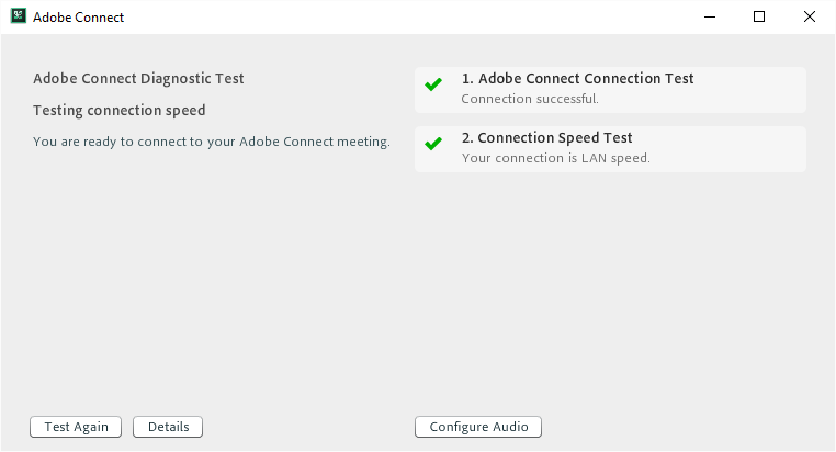 Adobe Connect pre-meeting test results and further actions when application is installed and Flash Player is disabled in browser
