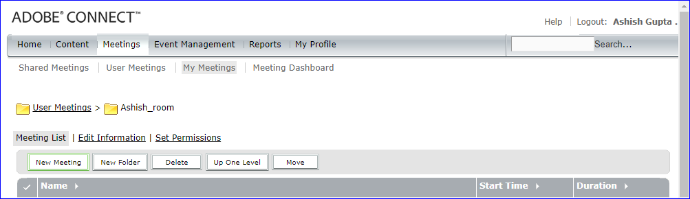 Create a new meeting in a folder by going to the Meetings tab in Adobe Connect Central