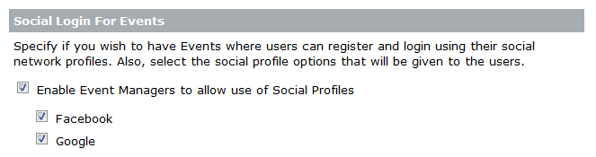 Option to register and log in using social accounts can be enabled by an Administrator.