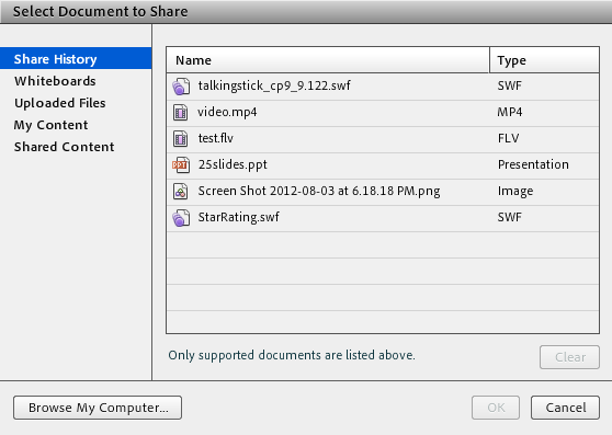 Options to share a document in the Share pod.