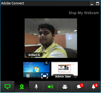 Multiple webcam feeds in the control panel.
