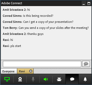 Screen share chat control.