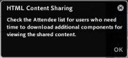 Notifier to Hosts and Presenters when sharing HTML content in a VC