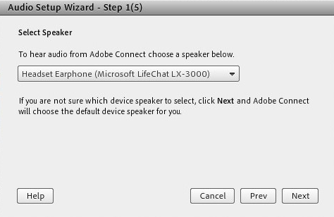 Select speaker when configuring audio using the wizard