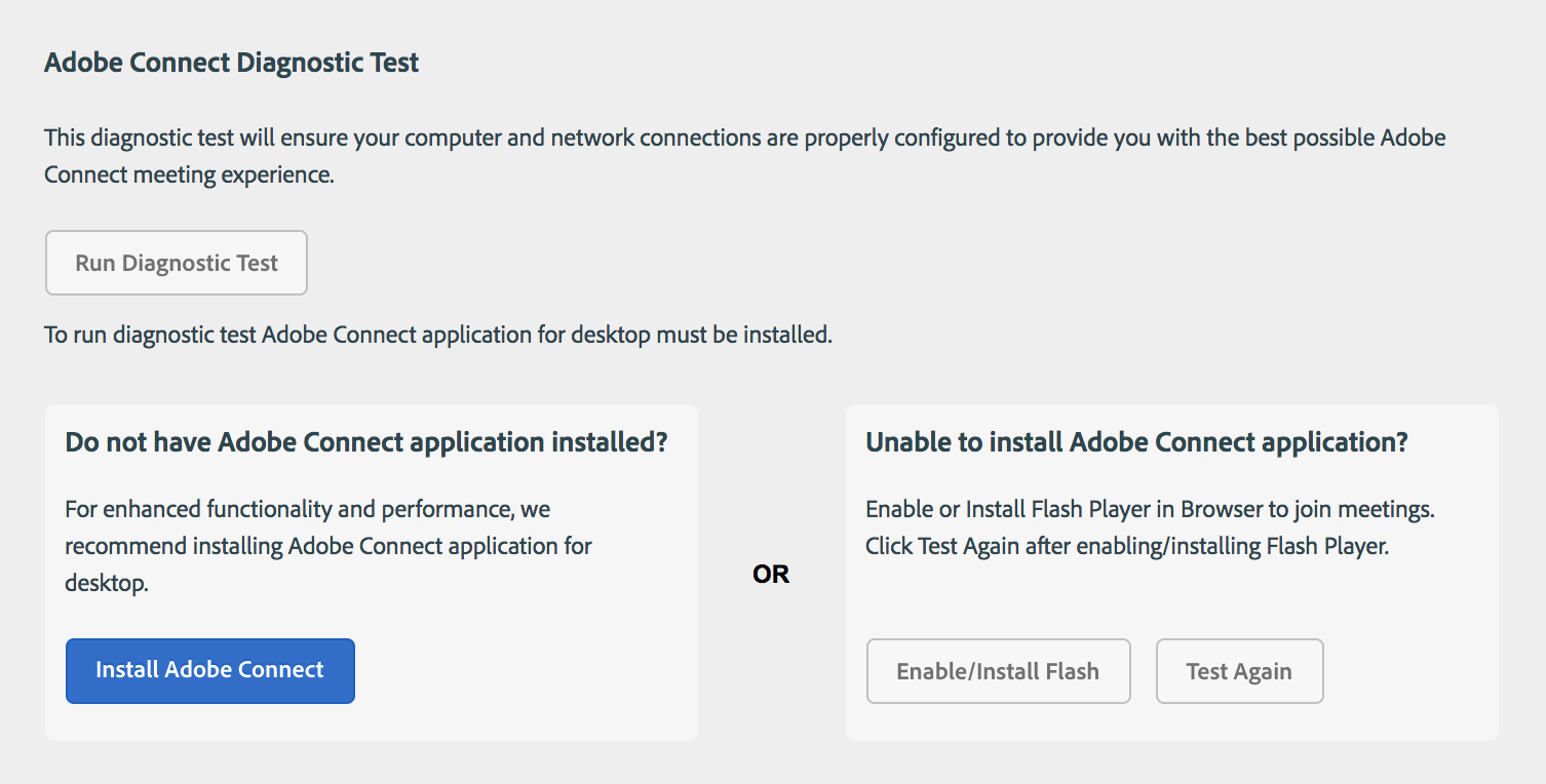 Adobe Connect pre-meeting diagnostic test page
