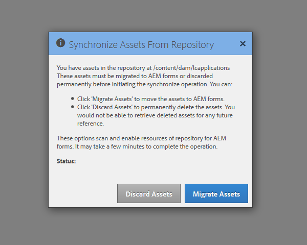Migration and synchronization dialog box