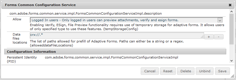 Example for configuring Forms Common Configuration Service