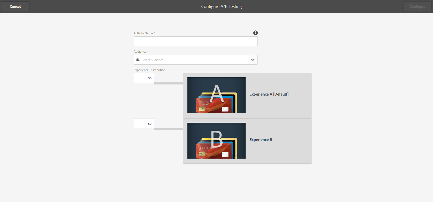 Create and manage A/B test for adaptive forms