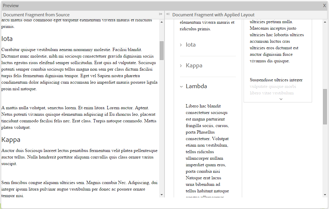 Inline preview of a document fragment. The accordion layout is applied to the document fragment.