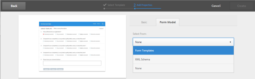 Associate XFA Form Template with an Adaptive Form