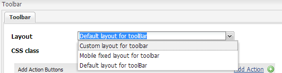 List of available toolbar layouts