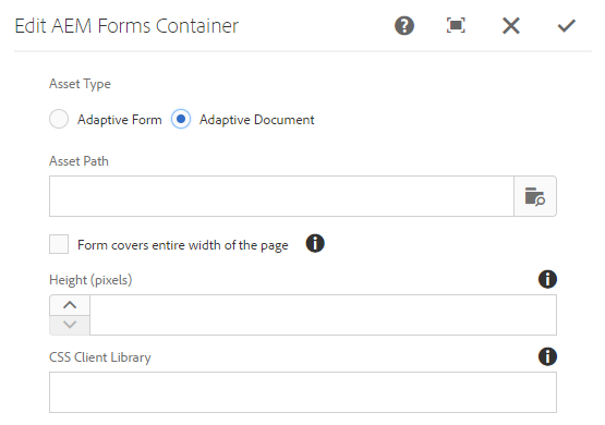 Embedding an adaptive document in AEM Sites page