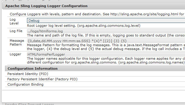 Apace Sling logging logger configuration option dialog box