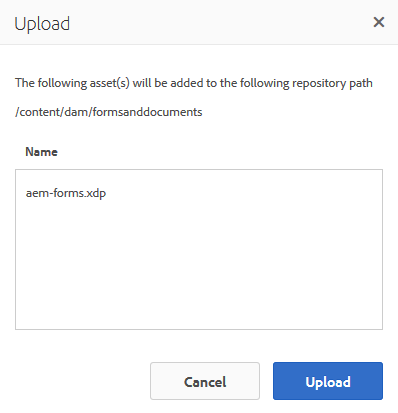 Upload dialog when uploading an XFA form