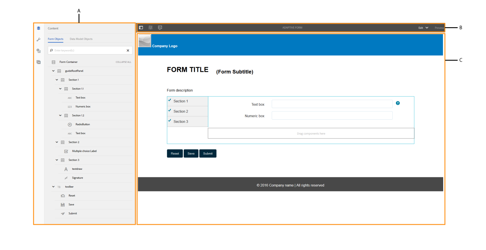 Adaptive form authoring UI