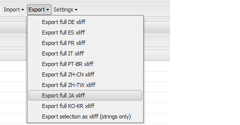 Export the XLIFF file