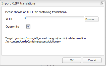 Choose XLIFF file to import