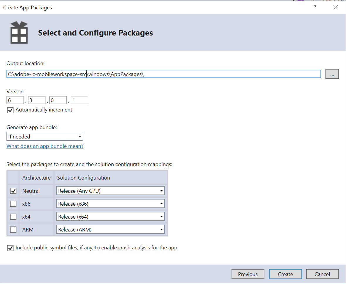 Set up the Visual Studio project and build the Windows app