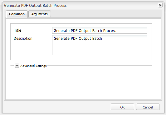 Generate PDF Output Batch dialog