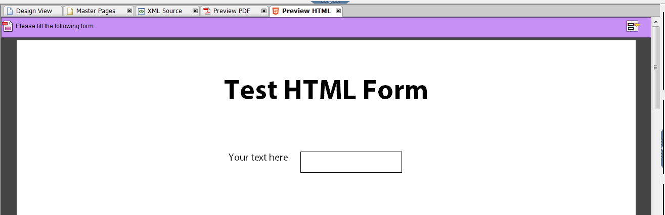 successful html form preview