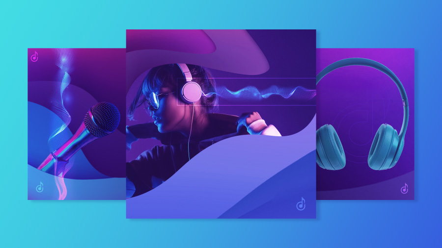 A series of animated banner ads with a shared design system and different music imagery