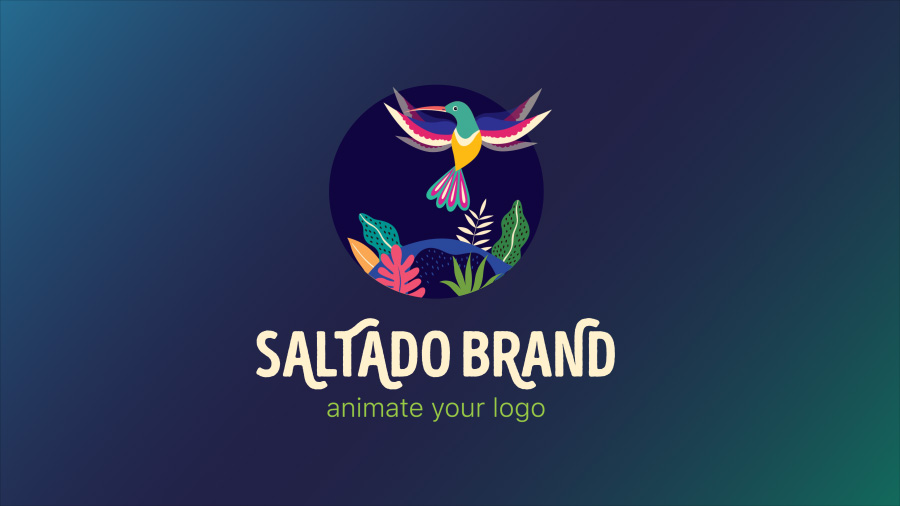 "An image of a logo with a tropical bird and plants, with text that reads ""Saltado Brand, animate your logo"""