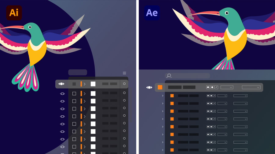 Side-by-side images of layers in an Illustrator file on the left, the same layers in the After Effects Timeline on the right