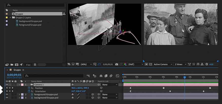 """""""时间轴""""面板显示相机移动关键帧,""""合成""""面板显示相机在3D空间中的移动路径"""