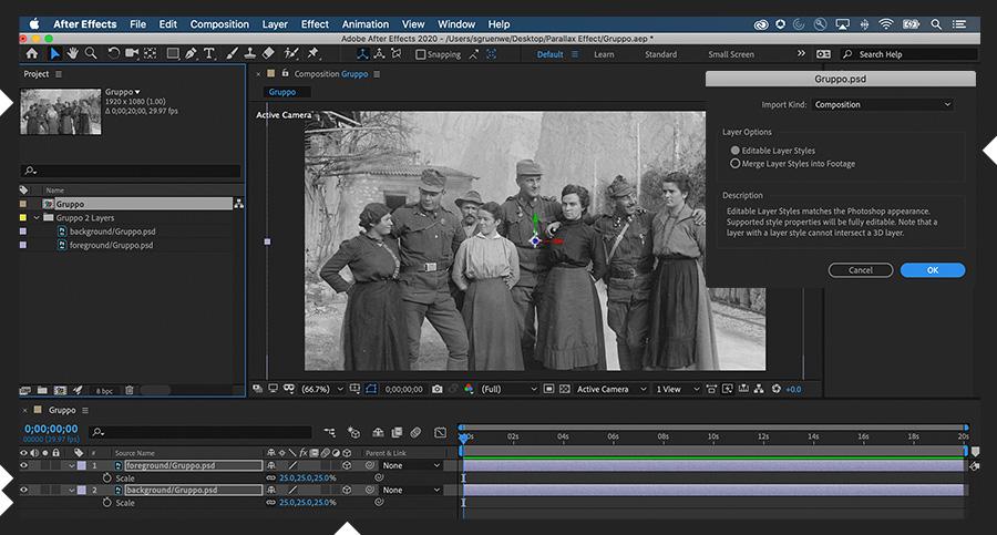 Adobe After Effects显示导入到新合成中的前景和背景图层以及3D开关集