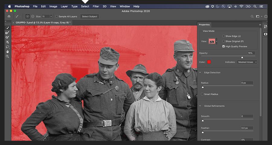 """Adobe Photoshop在""""选择和遮罩""""工作区中显示了一群与背景隔绝的人"""