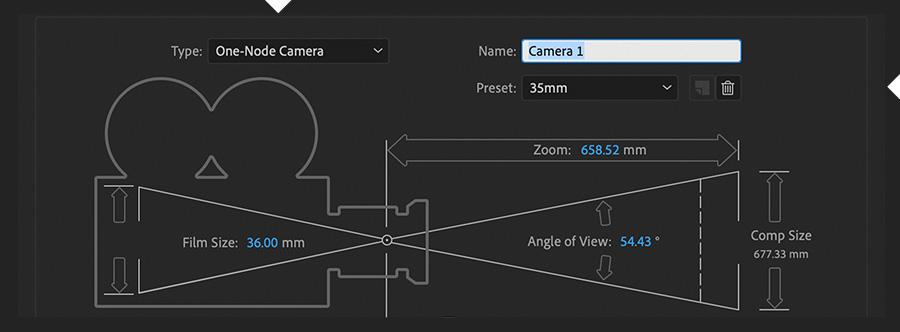 """""""摄像机设置""""对话框显示""""类型""""设置为""""一节点摄像机""""和""""预置""""设置为35mm"""