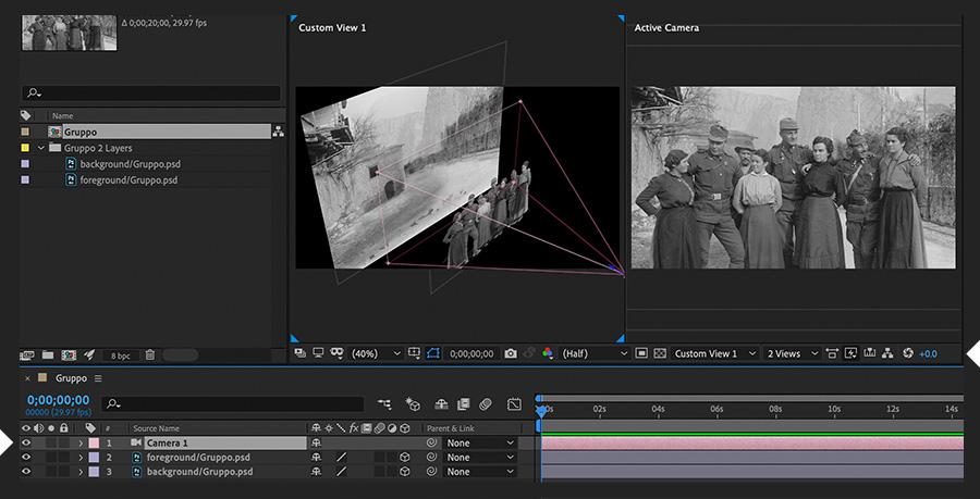组成面板并排显示了Custom View 1和Active Camera视图