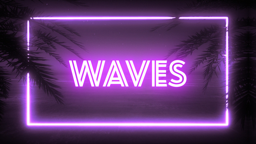 "A dark beach image with the title ""Waves"" in a neon visual treatment"