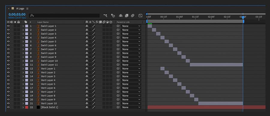 """""""时间轴""""面板显示了导入的Illustrator文件的各层相对于彼此重新放置的位置"""