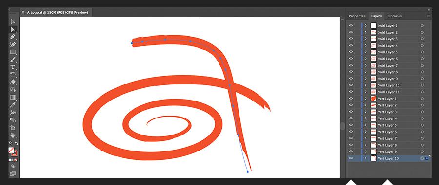 图层面板显示了原来的两层徽标设计,现在分为21个线段图层