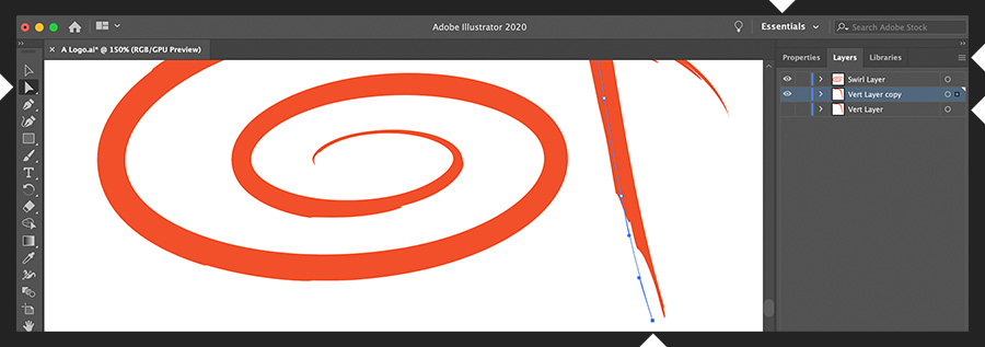Adobe Illustrator显示了一个设计,该设计具有两个笔触,每个笔触都位于一个层上。 直接选择工具单击一个控制点