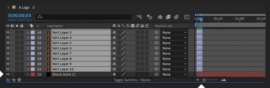 """""""时间轴""""面板显示导入的Illustrator文件的选定图层,并修剪为三帧的长度"""
