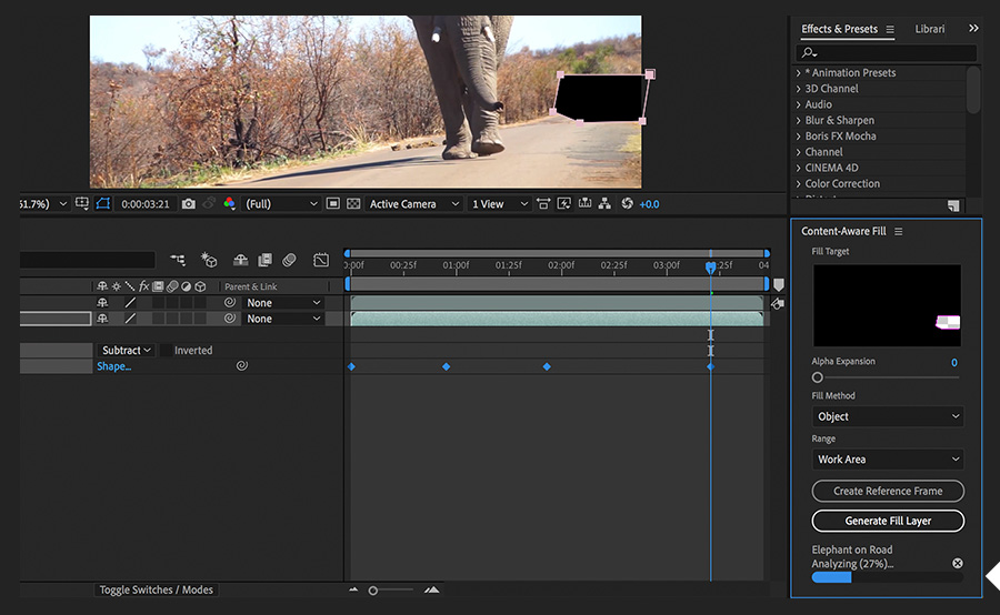 Remove a large object from a video | Adobe After Effects