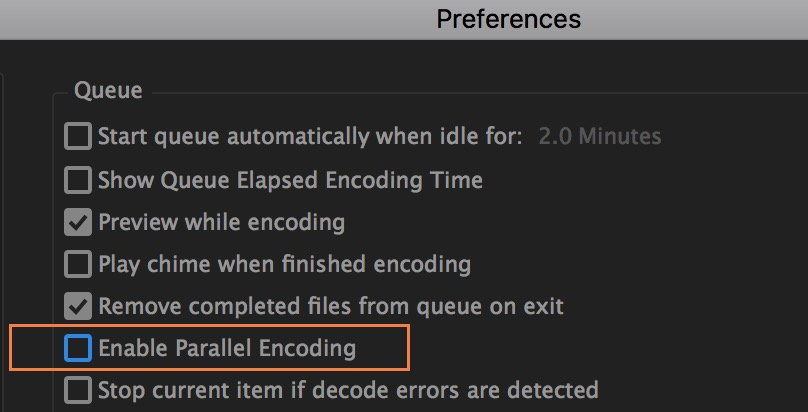 Disabling parallel encoding