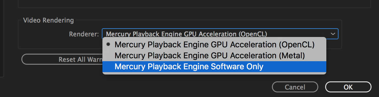 Changing Renderer to Mercury Playback Engine Software Only