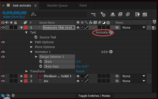Animating text in After Effects