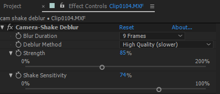 Modifying Camera-Shake Deblur properties in Effect Controls panel