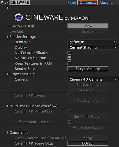 Cineware Settings