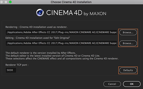 CINEMA 4D Installation dialog