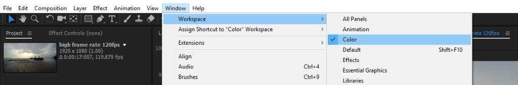 Opening workspace for working with color tools